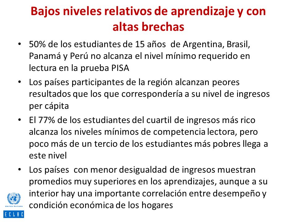 Bajos niveles relativos de aprendizaje y con altas brechas 50% de los estudiantes de 15 años de Argentina, Brasil, Panamá y Perú no alcanza el nivel m