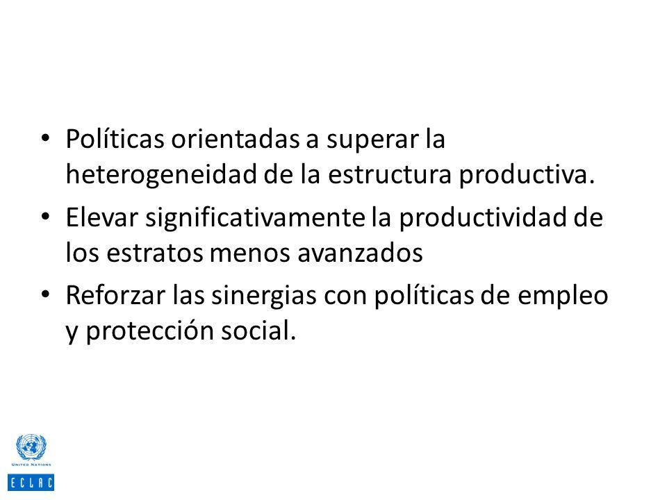 Políticas orientadas a superar la heterogeneidad de la estructura productiva. Elevar significativamente la productividad de los estratos menos avanzad