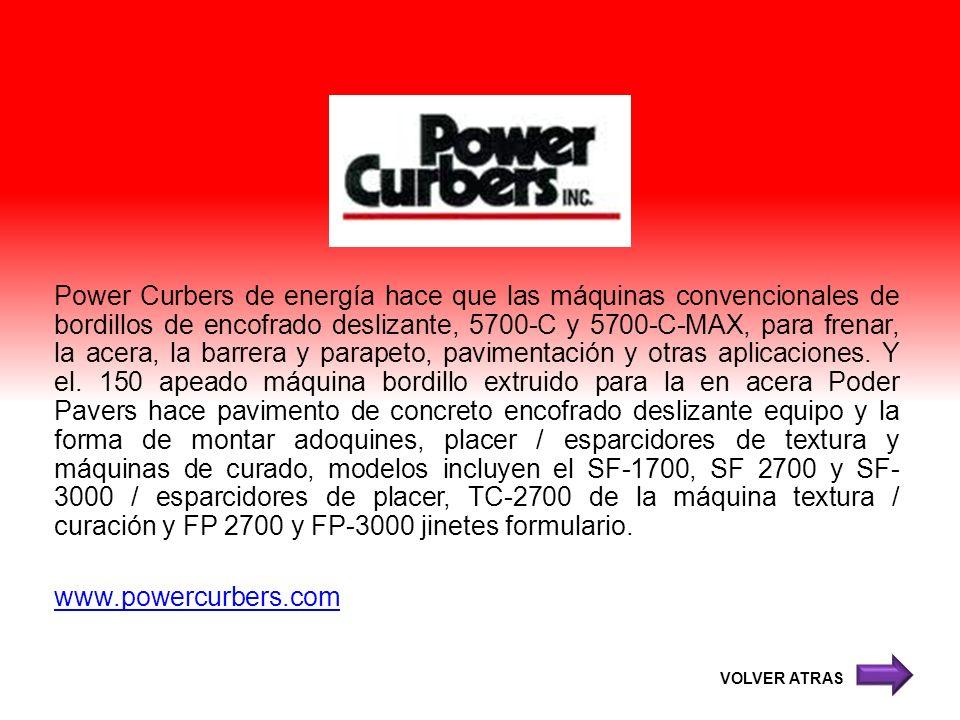 Power Curbers de energía hace que las máquinas convencionales de bordillos de encofrado deslizante, 5700-C y 5700-C-MAX, para frenar, la acera, la bar