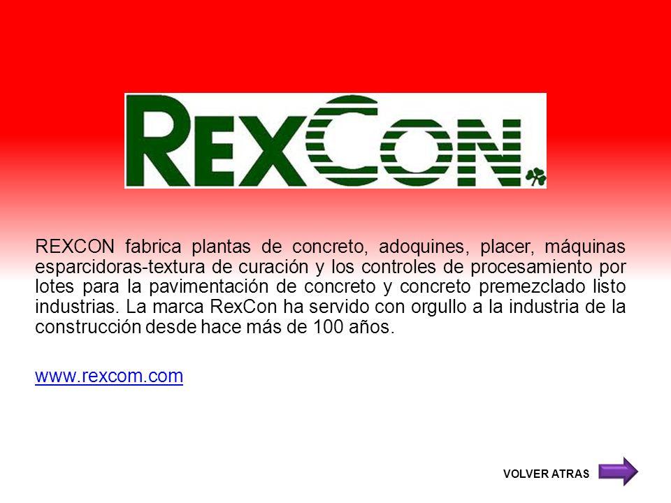 REXCON fabrica plantas de concreto, adoquines, placer, máquinas esparcidoras-textura de curación y los controles de procesamiento por lotes para la pa
