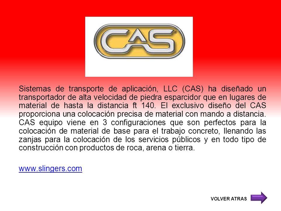 Sistemas de transporte de aplicación, LLC (CAS) ha diseñado un transportador de alta velocidad de piedra esparcidor que en lugares de material de hast