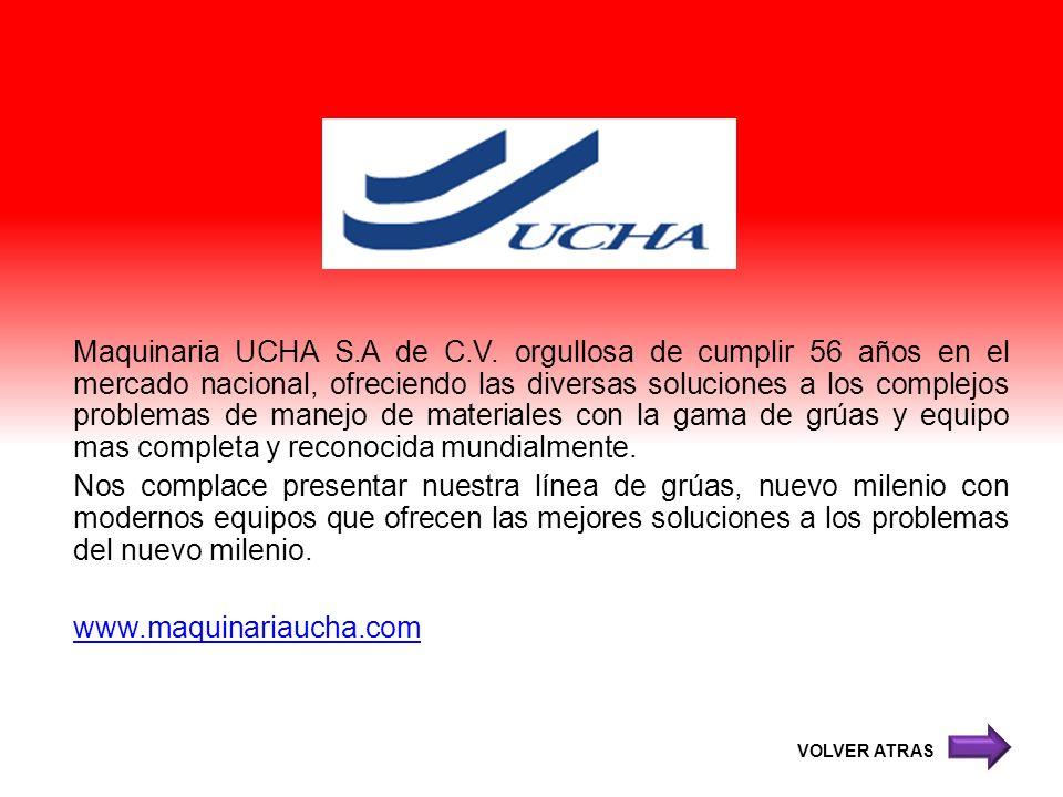 Maquinaria UCHA S.A de C.V. orgullosa de cumplir 56 años en el mercado nacional, ofreciendo las diversas soluciones a los complejos problemas de manej