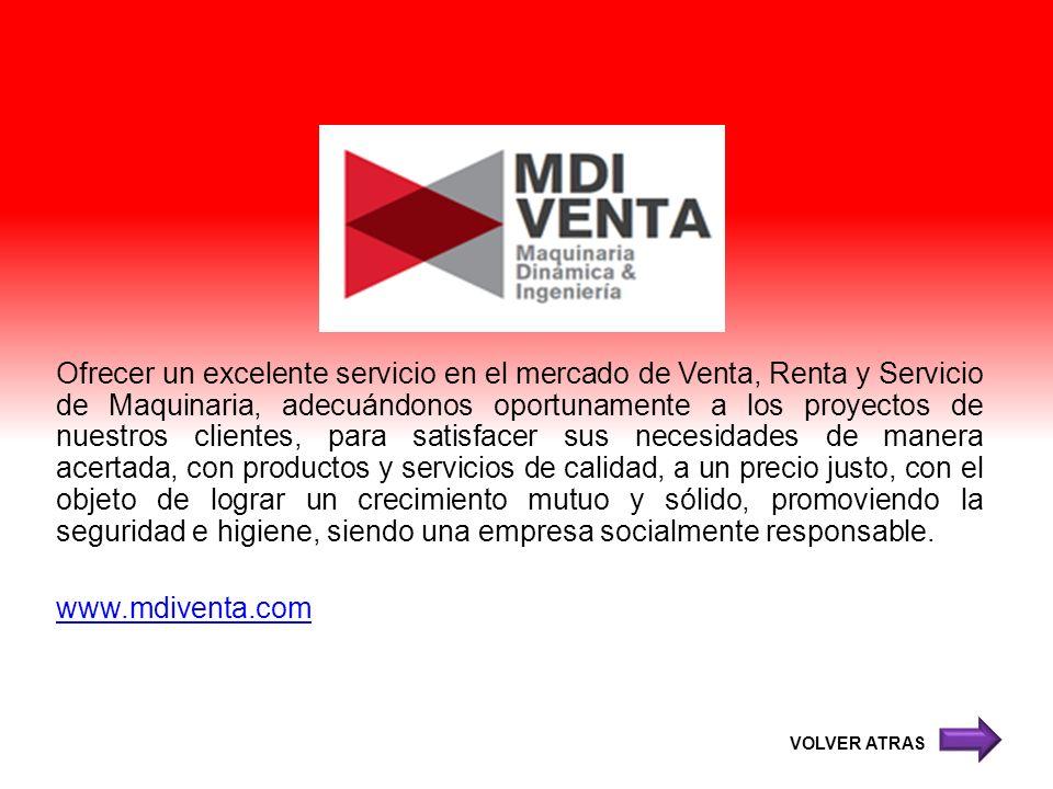 Ofrecer un excelente servicio en el mercado de Venta, Renta y Servicio de Maquinaria, adecuándonos oportunamente a los proyectos de nuestros clientes,