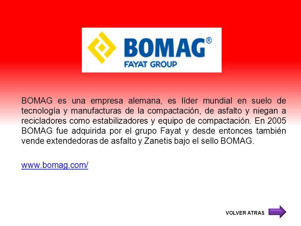BOMAG es una empresa alemana, es líder mundial en suelo de tecnología y manufacturas de la compactación, de asfalto y niegan a recicladores como estab