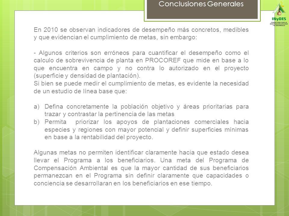 Conclusiones Generales En 2010 se observan indicadores de desempeño más concretos, medibles y que evidencian el cumplimiento de metas, sin embargo: -