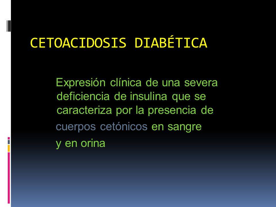 CETOACIDOSIS DIABÉTICA Representa el 8-28% del total de causas de hospitalización por DM Incidencia anual de 3-8 episodios/1000 diabéticos Es más frecuente en la DM tipo 1 Sólo el 10-20% corresponde a la DM tipo 2 Mortalidad en promedio 10% (variabilidad de 1-45%)