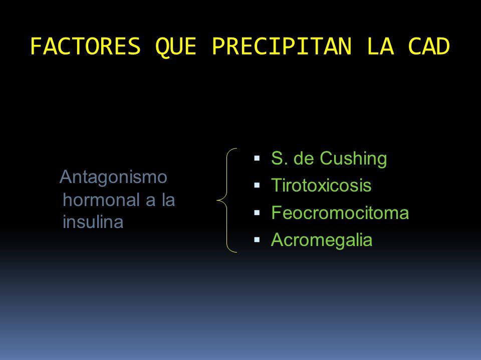 Diagnóstico diferencial entre SHHNC y CAD Edad >40 años Conocido diabético: no Inicio síntomas insidioso Varias Deshidratación 20% PC Glucemia >600mg/dl Glucosuria >1000mg/dl < 40 años Si hrs antes del ingreso Enf.