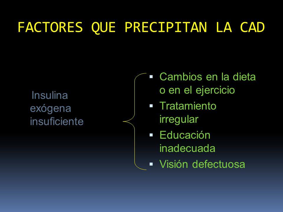 FACTORES QUE PRECIPITAN LA CAD Insulina exógena insuficiente Concentración inadecuada de insulina (calibración, inyección o prescrip- ción) Anticuerpos antiinsulina