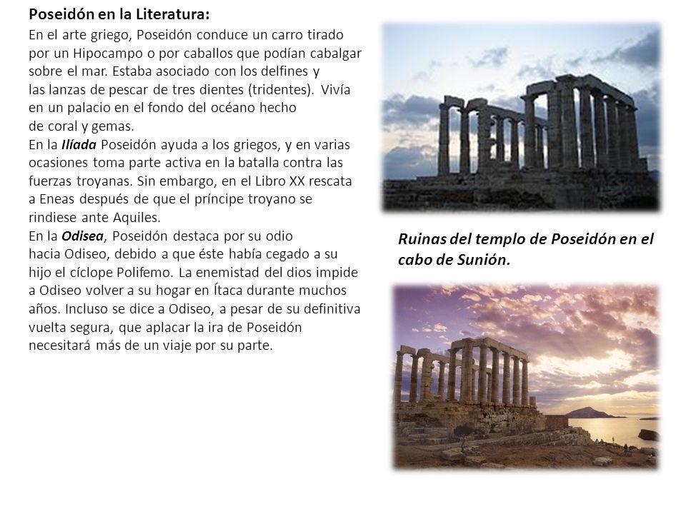 Ruinas del templo de Poseidón en el cabo de Sunión. En el arte griego, Poseidón conduce un carro tirado por un Hipocampo o por caballos que podían cab