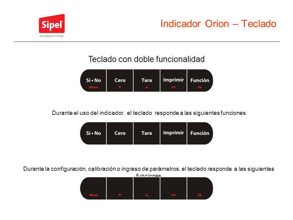 Indicador Orion – Teclado Durante el uso del indicador, el teclado responde a las siguientes funciones Durante la configuración, calibración o ingreso