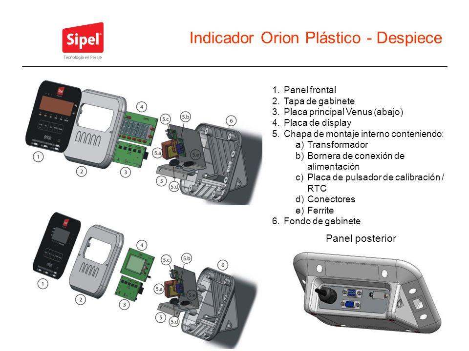 Indicador Orion Plástico - Despiece 1.Panel frontal 2.Tapa de gabinete 3.Placa principal Venus (abajo) 4.Placa de display 5.Chapa de montaje interno c