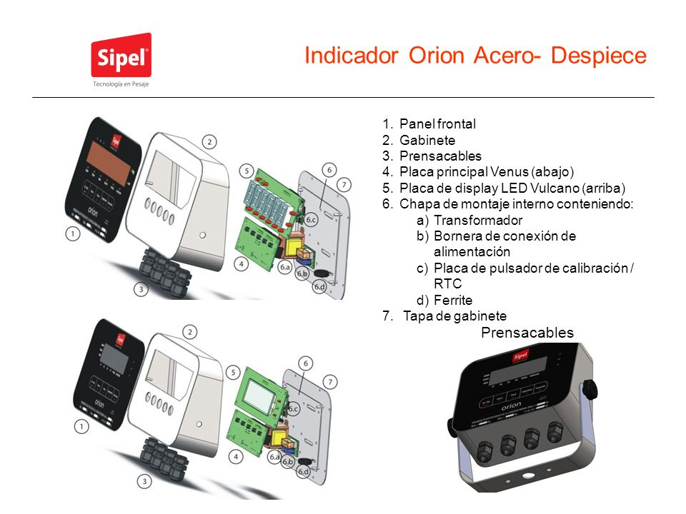 Indicador Orion Acero- Despiece 1.Panel frontal 2.Gabinete 3.Prensacables 4.Placa principal Venus (abajo) 5.Placa de display LED Vulcano (arriba) 6.Ch