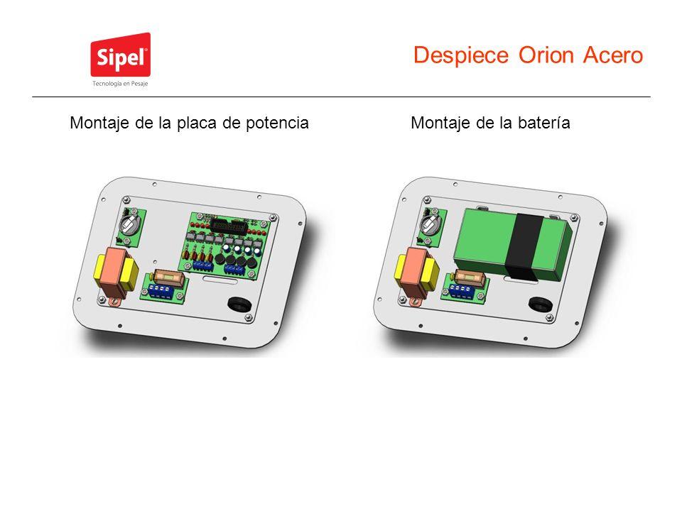 Despiece Orion Acero Montaje de la bateríaMontaje de la placa de potencia