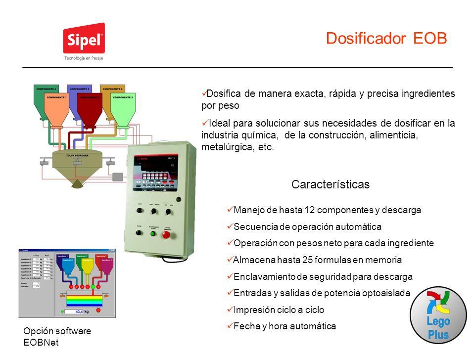 Dosificador EOB Características Manejo de hasta 12 componentes y descarga Secuencia de operación automática Operación con pesos neto para cada ingredi