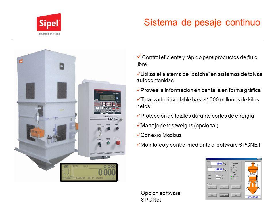 Sistema de pesaje continuo Control eficiente y rápido para productos de flujo libre. Utiliza el sistema de batchs en sistemas de tolvas autocontenidas