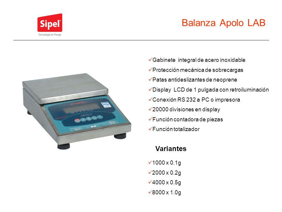 Balanza Apolo LAB Variantes 1000 x 0.1g 2000 x 0.2g 4000 x 0.5g 8000 x 1.0g Gabinete integral de acero inoxidable Protección mecánica de sobrecargas P