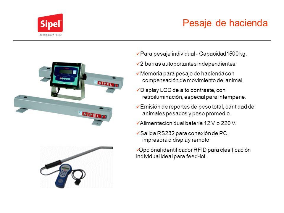 Pesaje de hacienda Para pesaje individual - Capacidad1500 kg. 2 barras autoportantes independientes. Memoria para pesaje de hacienda con compensación