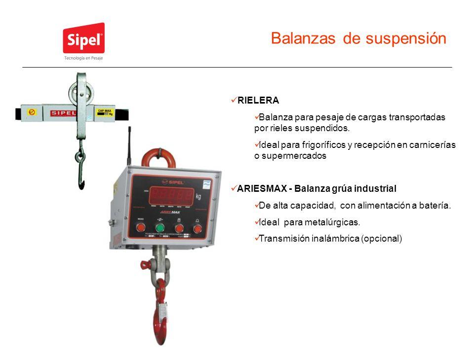Balanzas de suspensión RIELERA Balanza para pesaje de cargas transportadas por rieles suspendidos. Ideal para frigoríficos y recepción en carnicerías