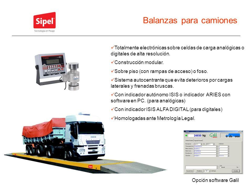 Balanzas para camiones Totalmente electrónicas sobre celdas de carga analógicas o digitales de alta resolución. Construcción modular. Sobre piso (con