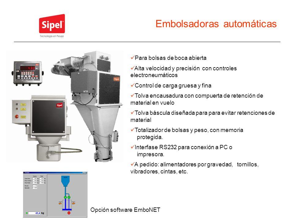 Embolsadoras automáticas Para bolsas de boca abierta Alta velocidad y precisión con controles electroneumáticos Control de carga gruesa y fina Tolva e