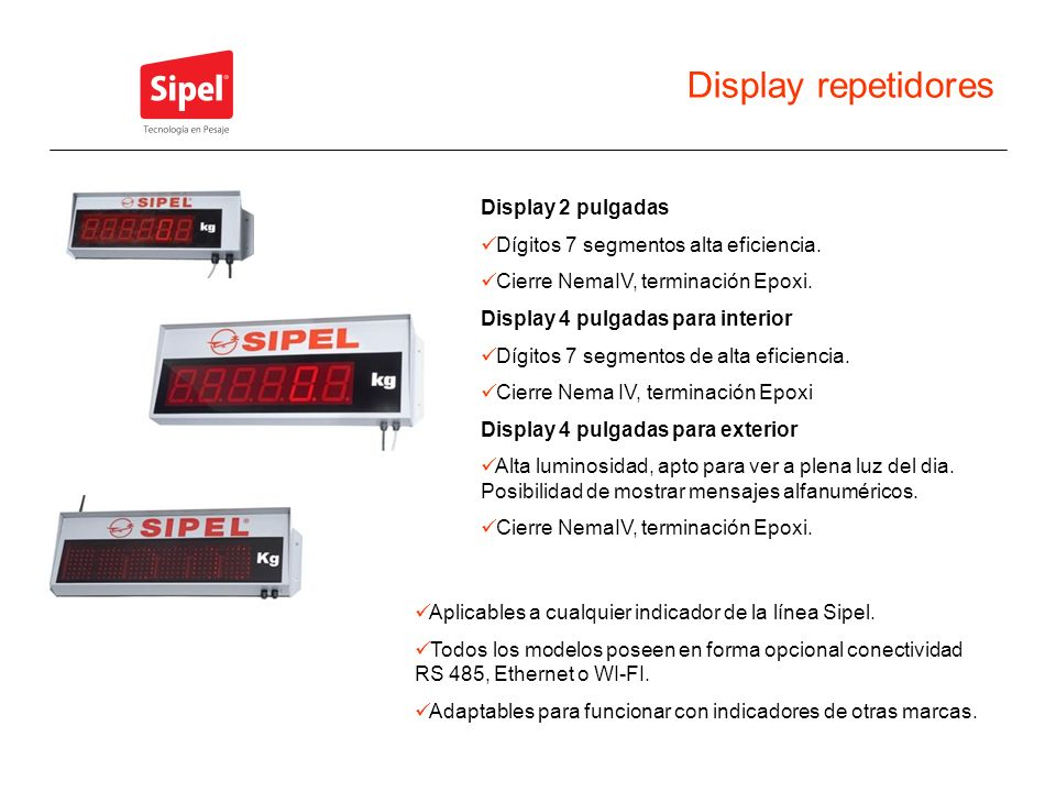 Display repetidores Display 2 pulgadas Dígitos 7 segmentos alta eficiencia. Cierre NemaIV, terminación Epoxi. Display 4 pulgadas para interior Dígitos