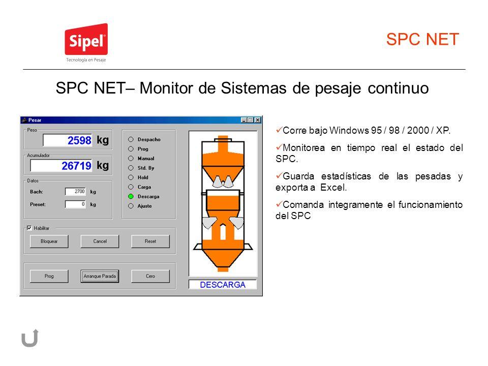 SPC NET Corre bajo Windows 95 / 98 / 2000 / XP. Monitorea en tiempo real el estado del SPC. Guarda estadísticas de las pesadas y exporta a Excel. Coma