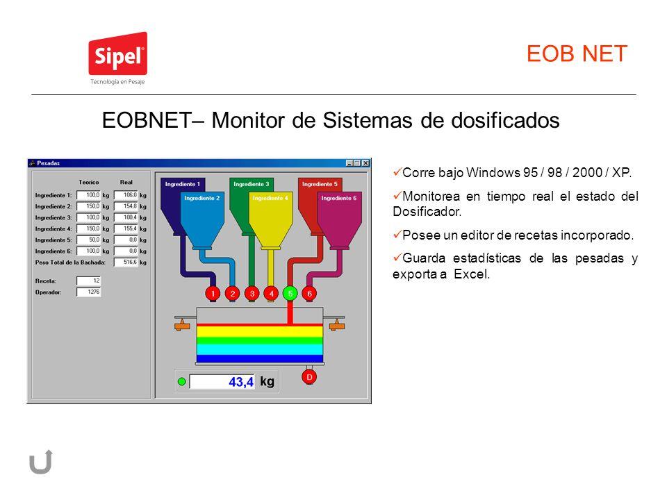 EOB NET Corre bajo Windows 95 / 98 / 2000 / XP. Monitorea en tiempo real el estado del Dosificador. Posee un editor de recetas incorporado. Guarda est