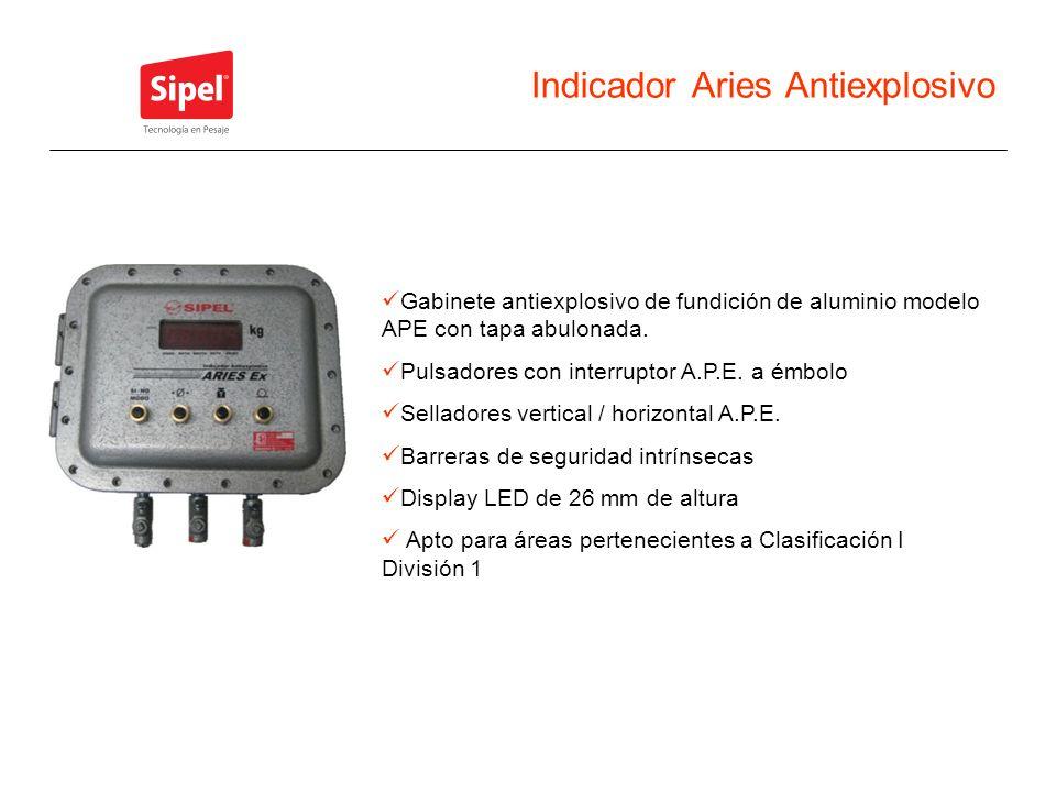 Indicador Aries Antiexplosivo Gabinete antiexplosivo de fundición de aluminio modelo APE con tapa abulonada. Pulsadores con interruptor A.P.E. a émbol