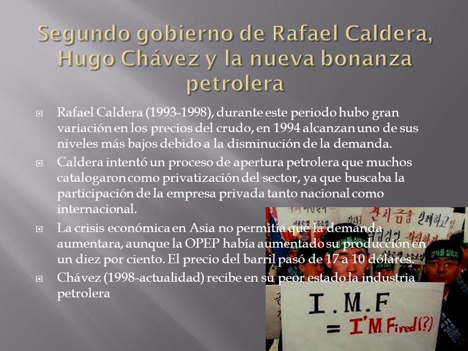 Rafael Caldera (1993-1998), durante este periodo hubo gran variación en los precios del crudo, en 1994 alcanzan uno de sus niveles más bajos debido a la disminución de la demanda.