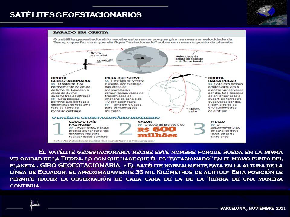 BARCELONA, NOVIEMBRE 2011 SATÈLITES GEOESTACIONARIOS El satélite geoestacionaria recibe este nombre porque rueda en la misma velocidad de la Tierra, lo con que hace que él es estacionado en el mismo punto del planeta, GIRO GEOESTACIONARIA » El satélite normalmente está en la altura de la línea de Ecuador, el aproximadamente 36 mil Kilómetros de altitud» Esta posición le permite hacer la observación de cada cara de la de la Tierra de una manera continua
