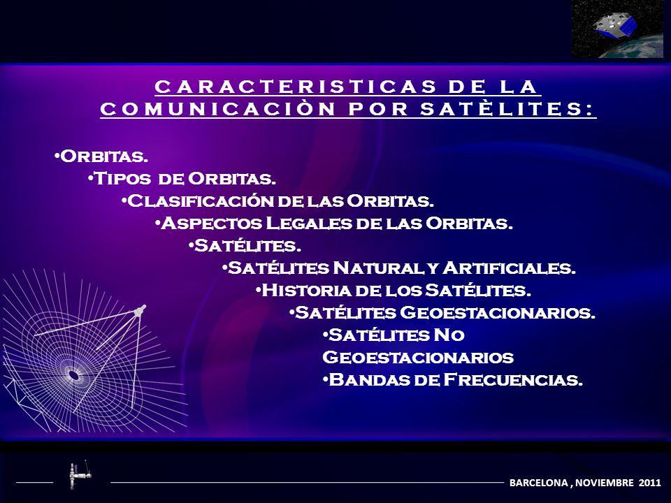 COMUNICACIÒN POR SATÈLITES BARCELONA, NOVIEMBRE 2011 CARACTERISTICAS DE LA COMUNICACIÒN POR SATÈLITES: Orbitas. Tipos de Orbitas. Clasificación de las