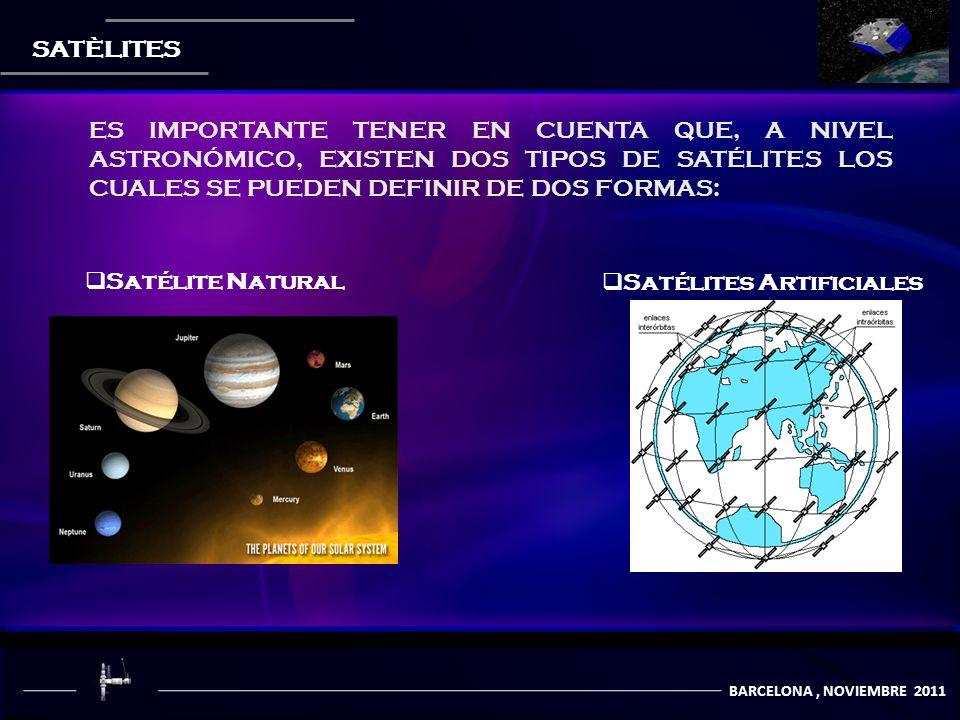 COMUNICACIÒN POR SATÈLITES BARCELONA, NOVIEMBRE 2011 SATÈLITES Satélite Natural Satélites Artificiales ES IMPORTANTE TENER EN CUENTA QUE, A NIVEL ASTRONÓMICO, EXISTEN DOS TIPOS DE SATÉLITES LOS CUALES SE PUEDEN DEFINIR DE DOS FORMAS: