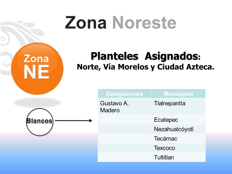 Zona Noreste Planteles Asignados : Norte, Vía Morelos y Ciudad Azteca. ZonaNE DelegacionesMunicipios Gustavo A. Madero Tlalnepantla Ecatepec Nezahualc