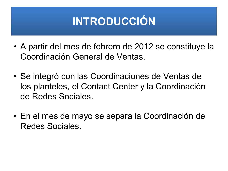 INTRODUCCIÓN A partir del mes de febrero de 2012 se constituye la Coordinación General de Ventas.
