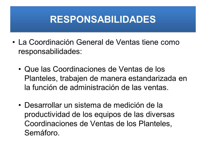 RESPONSABILIDADES La Coordinación General de Ventas tiene como responsabilidades: Que las Coordinaciones de Ventas de los Planteles, trabajen de manera estandarizada en la función de administración de las ventas.