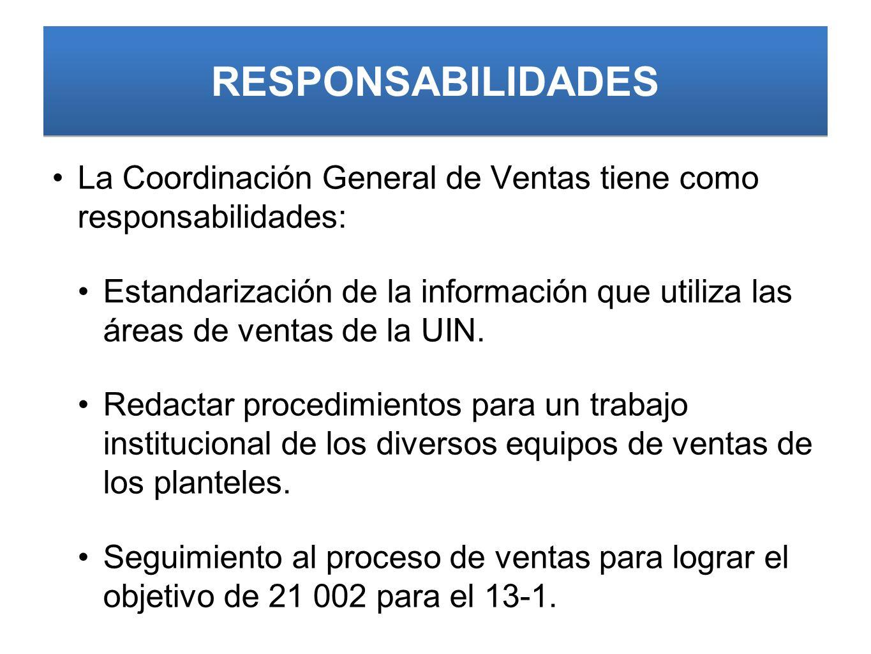 RESPONSABILIDADES La Coordinación General de Ventas tiene como responsabilidades: Estandarización de la información que utiliza las áreas de ventas de la UIN.