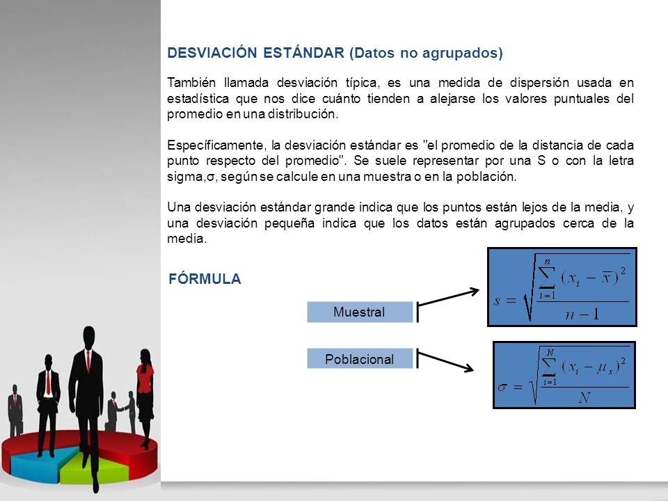 También llamada desviación típica, es una medida de dispersión usada en estadística que nos dice cuánto tienden a alejarse los valores puntuales del p