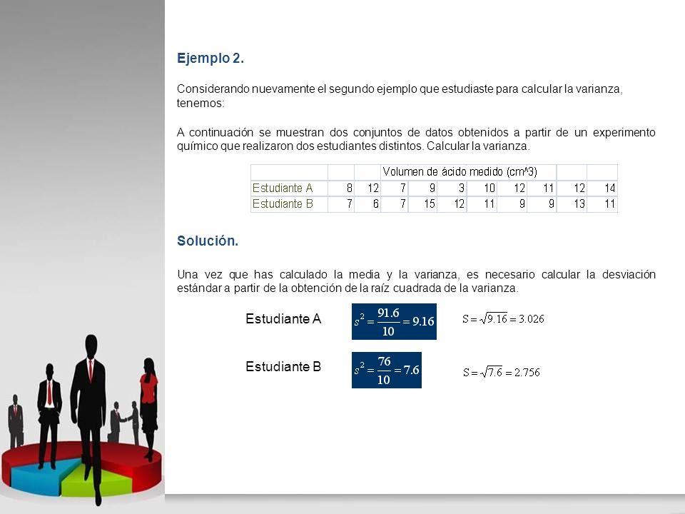 Ejemplo 2. Considerando nuevamente el segundo ejemplo que estudiaste para calcular la varianza, tenemos: A continuación se muestran dos conjuntos de d