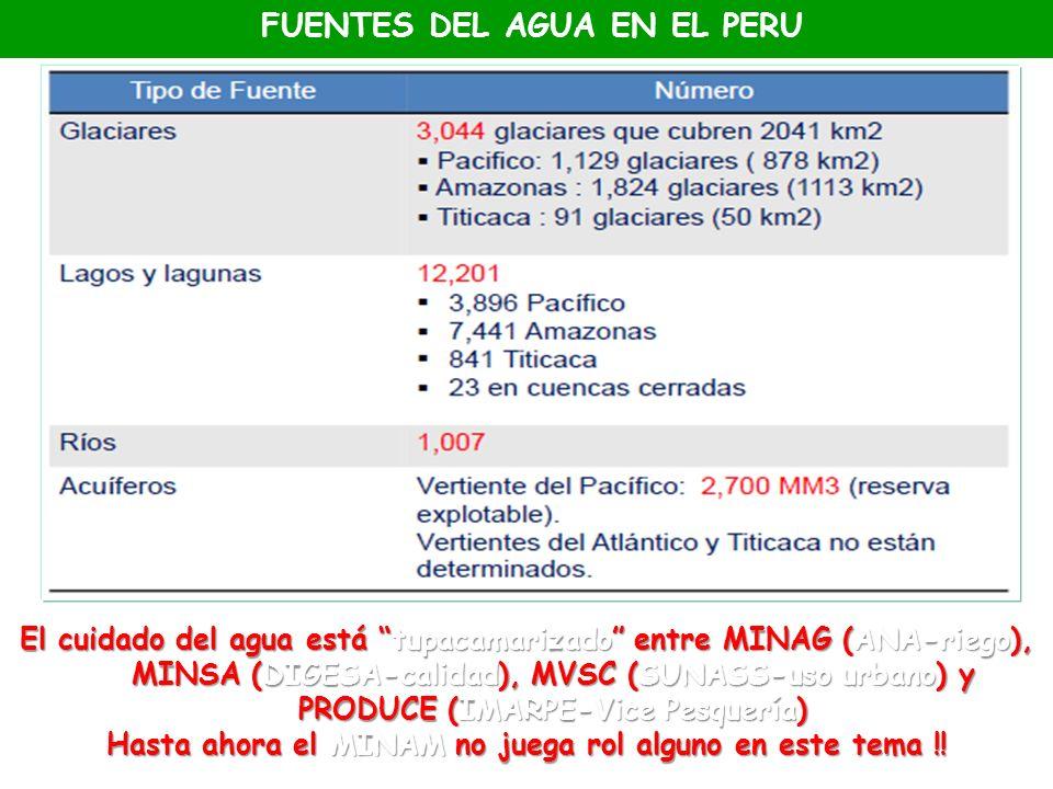 FUENTES DEL AGUA EN EL PERU El cuidado del agua está tupacamarizado entre MINAG (ANA-riego), MINSA (DIGESA-calidad), MVSC (SUNASS-uso urbano) y PRODUC