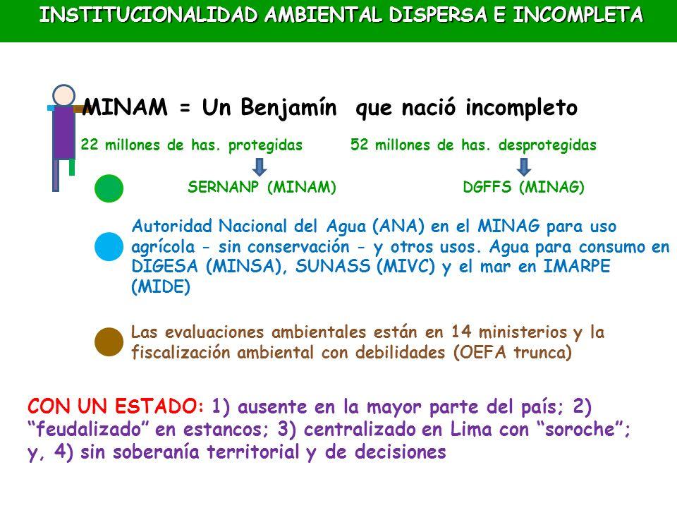 MINAM = Un Benjamín que nació incompleto 22 millones de has. protegidas 52 millones de has. desprotegidas SERNANP (MINAM)DGFFS (MINAG) Autoridad Nacio