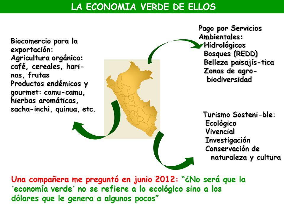 Pago por Servicios Ambientales: Hidrológicos Bosques (REDD) Belleza paisajís-tica Zonas de agro- biodiversidad Biocomercio para la exportación: Agricu