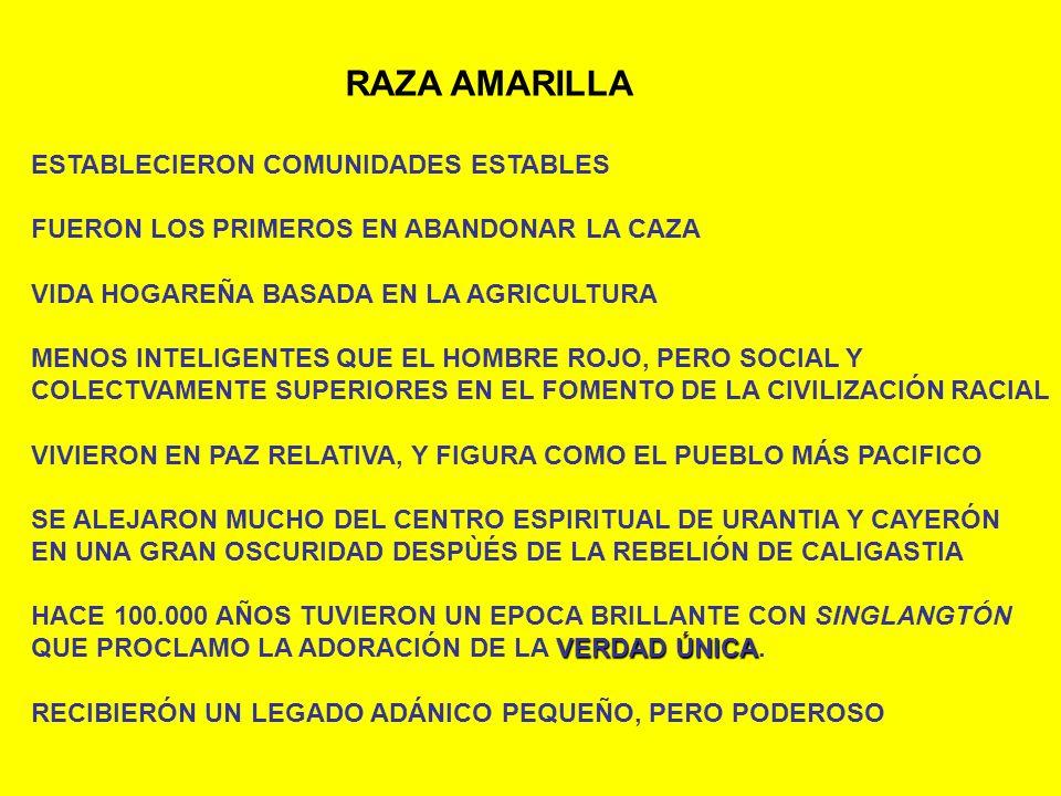 RAZA AMARILLA ESTABLECIERON COMUNIDADES ESTABLES FUERON LOS PRIMEROS EN ABANDONAR LA CAZA VIDA HOGAREÑA BASADA EN LA AGRICULTURA MENOS INTELIGENTES QU
