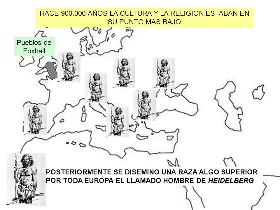 HACE 900.000 AÑOS LA CULTURA Y LA RELIGIÓN ESTABAN EN SU PUNTO MAS BAJO MESTIZOS POSTERIORMENTE SE DISEMINO UNA RAZA ALGO SUPERIOR HEIDELBERG POR TODA
