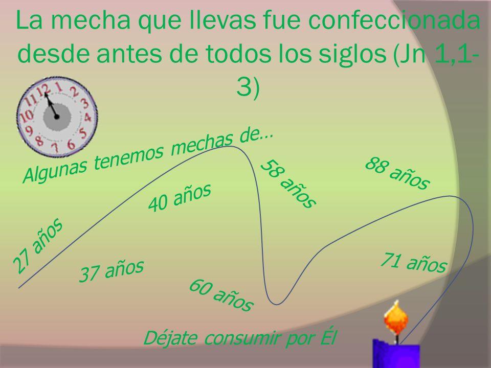 La mecha que llevas fue confeccionada desde antes de todos los siglos (Jn 1,1- 3) Déjate consumir por Él Algunas tenemos mechas de… 88 años 40 años 60 años 27 años 58 años 37 años 71 años