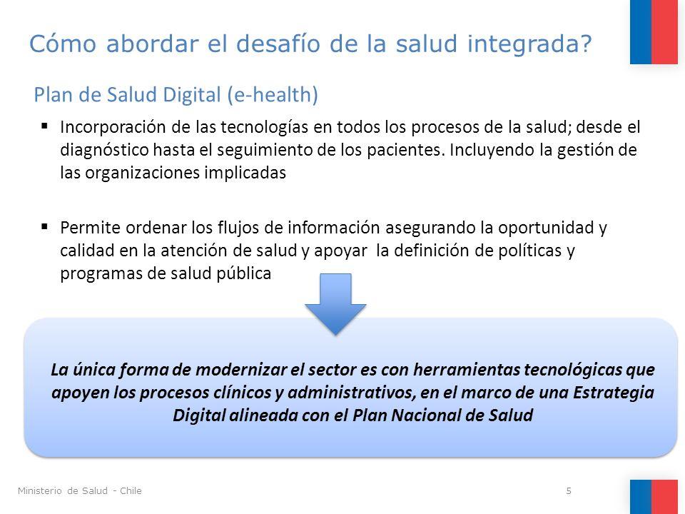 Plan de Salud Digital como una política de Estado que permita: -Asegurar continuidad del plan de salud digital más allá de cada administración -Asegurar financiamiento global Principales Desafíos para la modernización del Sector