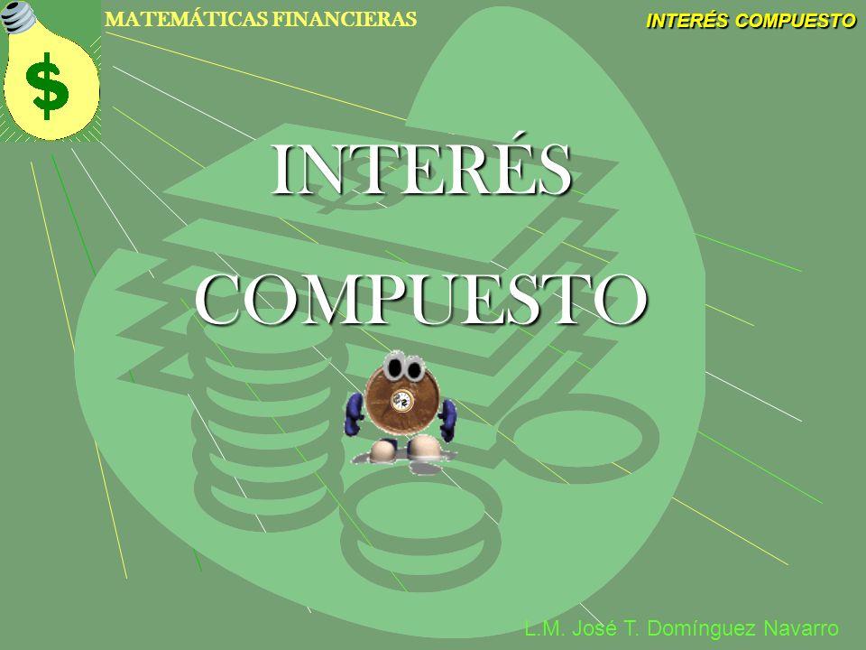 MATEMÁTICAS FINANCIERAS INTERÉS COMPUESTO L.M. José T. Domínguez Navarro INTERÉS COMPUESTO