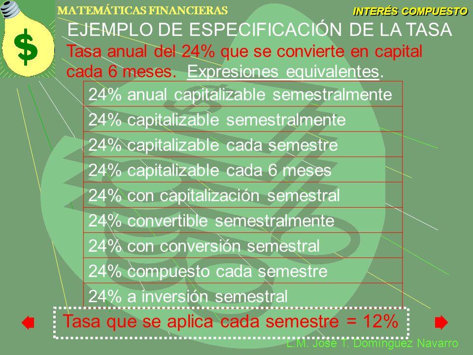 MATEMÁTICAS FINANCIERAS INTERÉS COMPUESTO L.M. José T. Domínguez Navarro EJEMPLO DE ESPECIFICACIÓN DE LA TASA 24% anual capitalizable semestralmente 2