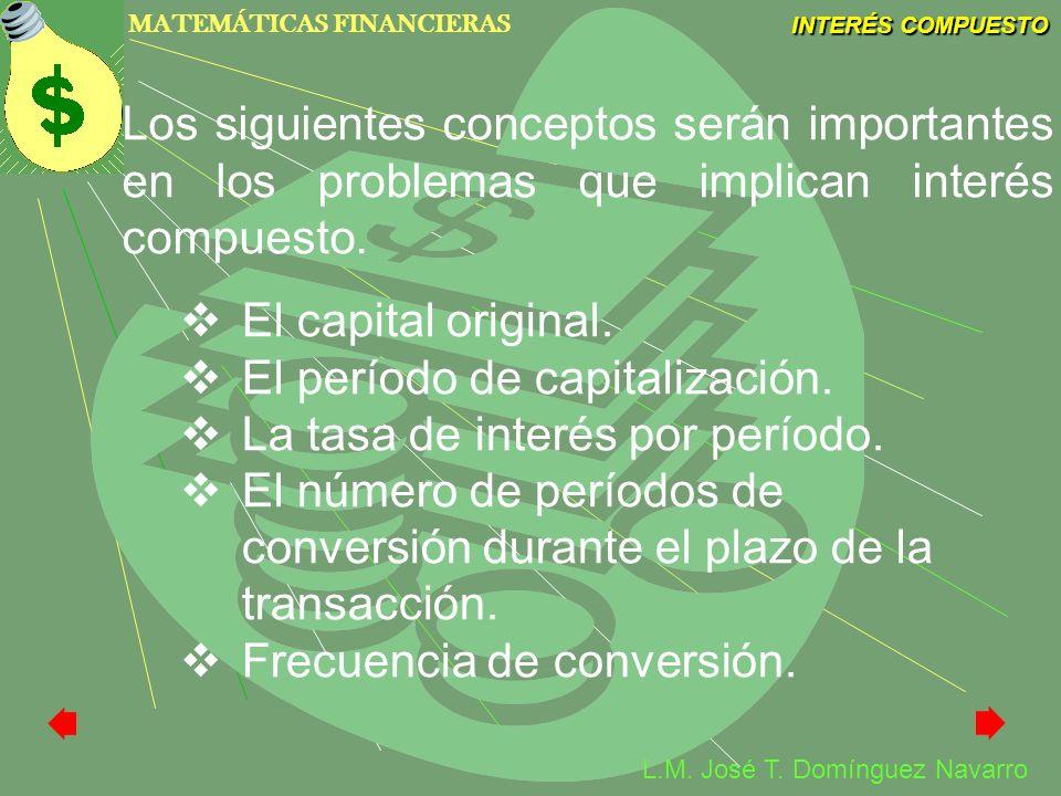 MATEMÁTICAS FINANCIERAS INTERÉS COMPUESTO L.M. José T. Domínguez Navarro Los siguientes conceptos serán importantes en los problemas que implican inte