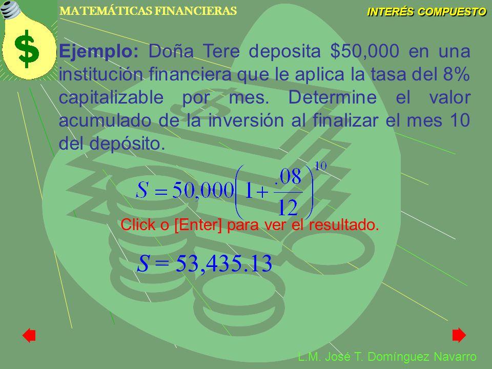 MATEMÁTICAS FINANCIERAS INTERÉS COMPUESTO L.M. José T. Domínguez Navarro Ejemplo: Doña Tere deposita $50,000 en una institución financiera que le apli