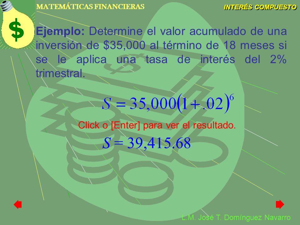 MATEMÁTICAS FINANCIERAS INTERÉS COMPUESTO L.M. José T. Domínguez Navarro Ejemplo: Determine el valor acumulado de una inversión de $35,000 al término